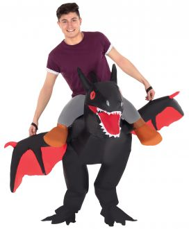 Black Ride On Dragon Inflatable Costume