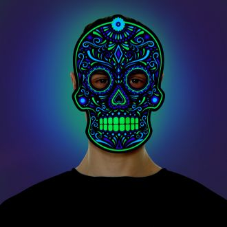 Adult Day of The Dead Skeleton Screaming Demon Mask
